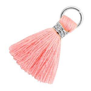 Roze Ibiza kwastje Zilver-Shell pink 18mm