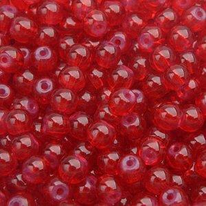 Rood Glaskraal opaal rood 6mm - 50 stuks