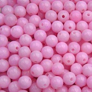 Paars Edelsteen kraal Jade light pink rond 6mm - 10 stuks