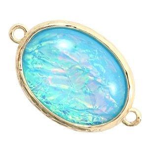 Blauw Tussenzetsel Holografic crystal glas aqua Goud 13x18mm
