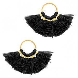 Zwart Ring met kwastjes Gold-black 28x11mm