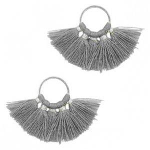 Grijs Ring met kwastjes Silver-dark grey 28x11mm