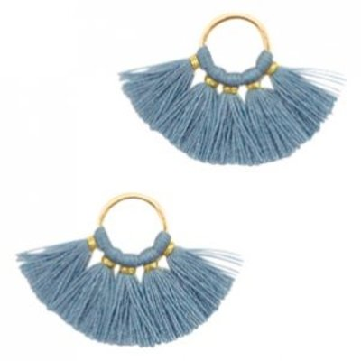 Blauw Ring met kwastjes Gold-aegean blue 28x11mm