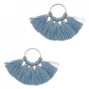 Blauw Ring met kwastjes Silver-aegean blue 28x11mm