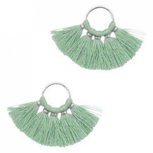 Groen Ring met kwastjes Silver-vintage salvia green 28x11mm