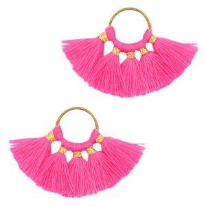 Roze Ring met kwastjes Gold-neon fuchsia pink 28x11mm