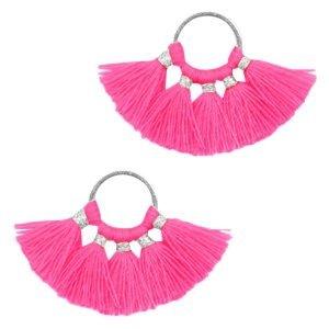 Roze Ring met kwastjes Silver-neon fuchsia pink 28x11mm
