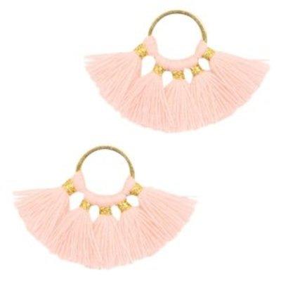 Oranje Ring met kwastjes Gold-salmon pink 28x11mm