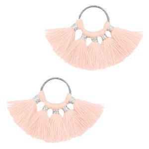 Oranje Ring met kwastjes Silver-salmon pink 28x11mm