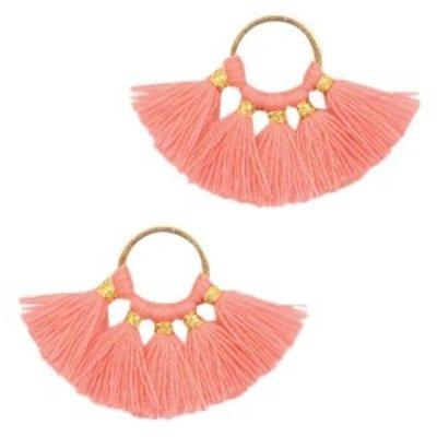 Oranje Ring met kwastjes Gold-coral pink 28x11mm