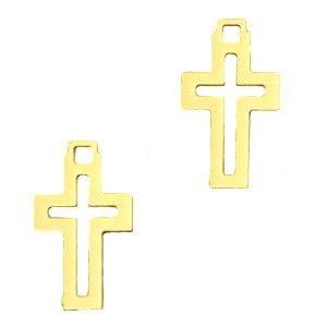 Goud Hanger bohemian kruisje Goud 12x7mm