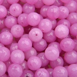 Roze Edelsteen rond Faceted pink orchid 8mm