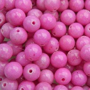 Roze Edelsteen rond Jade Pink 8mm