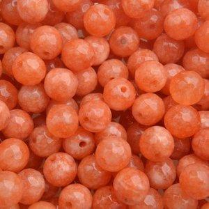 Oranje Edelsteen rond Faceted Jade orange 8mm