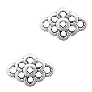Zilver Tussenzetsel bloem Zilver DQ 11x8mm