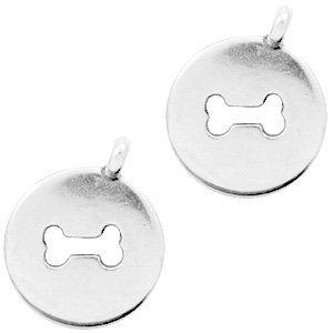 Zilver Bedel metaal munt hondenbot Zilver DQ 21x17mm