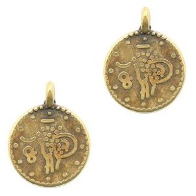Antiek Goud Brons Bedel ethnic munt Brons DQ 15x12mm