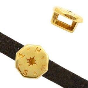 Goud Leerschuiver metaal kompas Ø5x2mm Goud DQ