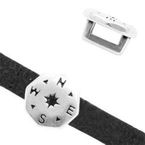 Zilver Leerschuiver metaal kompas Ø5x2mm Zilver DQ