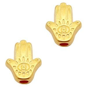 Goud Kraal hamsa hand Goud DQ 9x8mm
