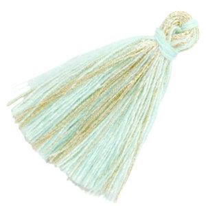 Turquoise Kwastje basic goldline Light turquoise blue 30mm