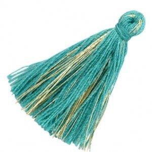 Turquoise Kwastje basic goldline Ocean green 30mm