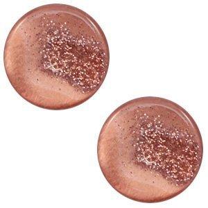Bruin Cabochon polaris stardust Terracotta rose 12mm