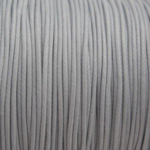 Grijs Waxkoord shiny light grey 1mm - 8 meter