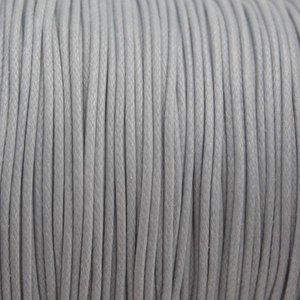 Grijs Waxkoord shiny light grey 1mm - 8 meter