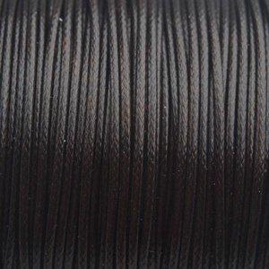 Bruin Waxkoord shiny diep donker bruin 1mm - 8 meter