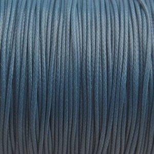 Blauw Waxkoord shiny grijs blauw 1mm - 8 meter