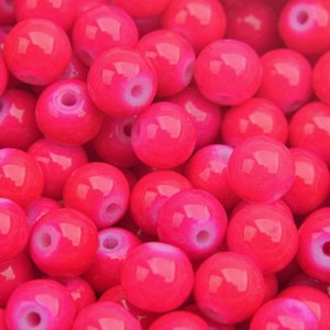 Roze Glaskraal shine hot pink 6mm - 50 stuks