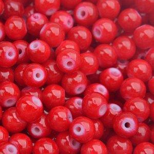 Rood Glaskraal shine fel rood 6mm - 50 stuks