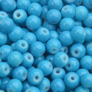 Blauw Glaskraal shine blauw 6mm - 50 stuks