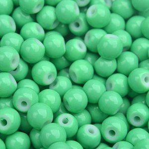 Groen Glaskraal shine bright green 6mm - 50 stuks