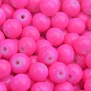 Roze Glaskraal shine bright pink 6mm - 50 stuks