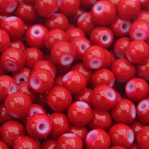 Rood Glaskraal shine rood 6mm - 50 stuks