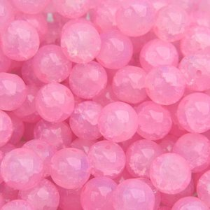 Roze Glaskraal opaal crackle light pink 8mm - 25 stuks