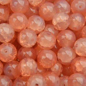 Oranje Glaskraal opaal crackle salmon 8mm - 25 stuks