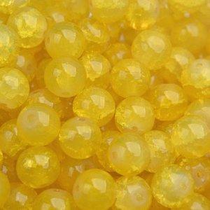 Geel Glaskraal opaal crackle golden yellow  8mm - 25 stuks