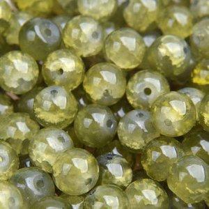Groen Glaskraal opaal crackle olive green 8mm - 25 stuks