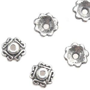 Zilver Kralenkapje Zilver 7x2.5mm - 10 stuks