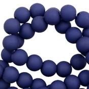 Blauw Acryl kralen mat Dark blue 8mm - 50 stuks
