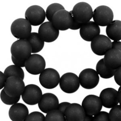 Zwart Acryl kralen mat  Black 6mm - 50 stuks