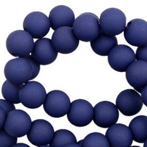Blauw Acryl kralen mat  Dark blue 6mm - 50 stuks
