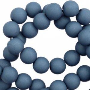 Blauw Acryl kralen mat  Cool blue 6mm - 50 stuks