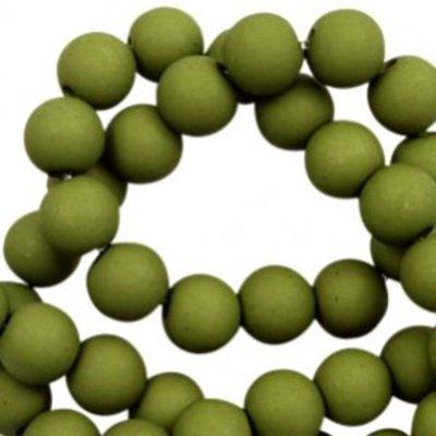 Groen Acryl kralen mat Olive green 6mm - 50 stuks