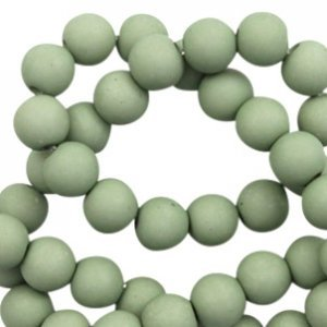 Groen Acryl kralen mat Cameo green 8mm - 50 stuks