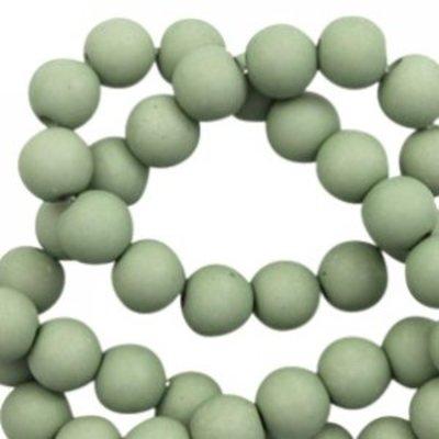 Groen Acryl kralen mat Cameo green 6mm - 50 stuks