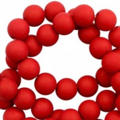 Rood Acryl kralen mat Ruby red 8mm - 50 stuks